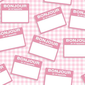 Scattered French 'hello my name is' nametags - light pink on baby pink gingham