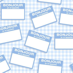 Scattered French 'hello my name is' nametags - light blue on baby blue gingham