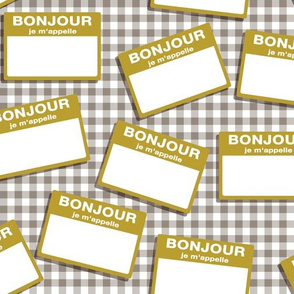 Scattered French 'hello my name is' nametags - mustard on grey gingham