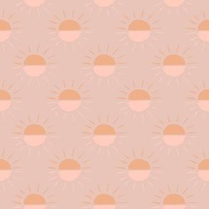 Boho Suns Muted Beige Peach Orange Sunshine Sunrise Sunset