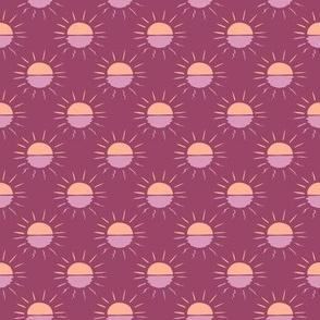 Small Boho Suns Sunshine Sunset Sunrise in purple lavender peach