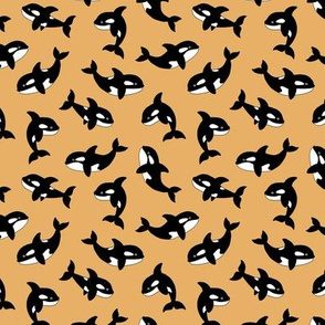 Little orca sea killer whale ocean adorable scandi style fish print for kids  black and white camel mustard yellow