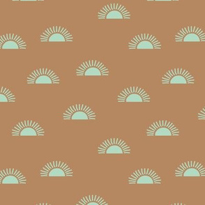 Little minimalist sunset boho sunny day vintage seventies style caramel brown mint