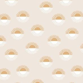 Little minimalist sunrise morning boho sunny day vintage seventies style beige sand white mustard