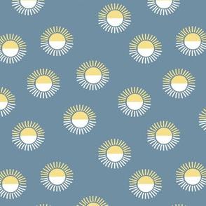 Little minimalist sunrise morning boho sunny day vintage seventies style blue yellow white