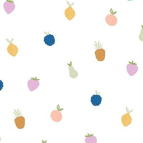 Summer fruit smoothie fun tropical juice garden with pears strawberries and pineapples kids multi color on white
