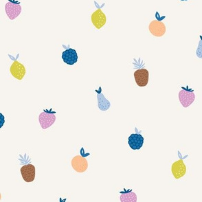 Summer fruit smoothie fun tropical juice garden with pears strawberries and pineapples kids blue pink yellow on ivory