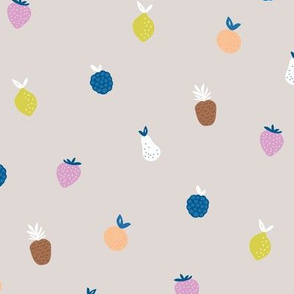 Summer fruit smoothie fun tropical juice garden with pears strawberries and pineapples kids blue pink yellow on beige