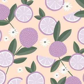 Lush citrus garden botanical boho lemons and summer leaves kitchen restaurant blush olive green purple lilac