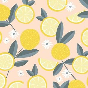 Lush citrus garden botanical boho lemons and summer leaves kitchen restaurant blush yellow gray