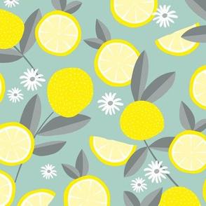 Lush citrus garden botanical boho lemons and summer leaves kitchen restaurant yellow blue gray