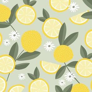Lush citrus garden botanical boho lemons and summer leaves kitchen restaurant yellow mist green gray