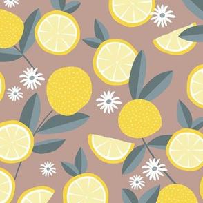 Lush citrus garden botanical boho lemons and summer leaves kitchen restaurant yellow stone latte green
