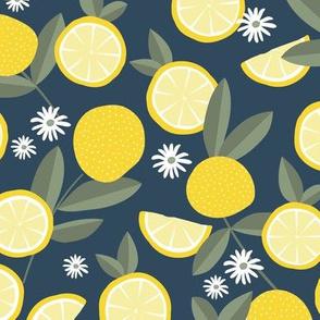 Lush citrus garden botanical boho lemons and summer leaves kitchen restaurant yellow navy blue olive green