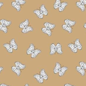 The minimalist boho butterfly nursery scandi textiles camel beige white