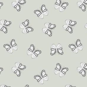 The minimalist boho butterfly nursery scandi textiles mist green white gray