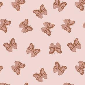 The minimalist boho butterfly nursery scandi textiles seventies vintage blush pink