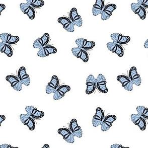 The minimalist boho butterfly nursery scandi textiles seventies vintage lavender blue on white