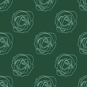 Botanical Deep Green Roses Line Drawing minimal flower one line art