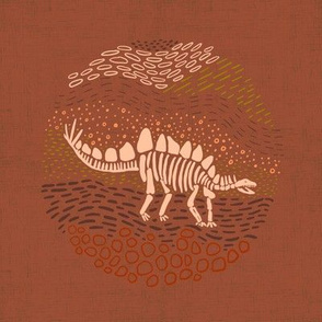 Earthy Stegosaurus - embroidery/wall art