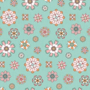 Pink rosettes on mint small
