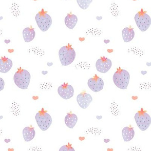 Watercolor summer strawberry garden kids boho beach trend lilac on white