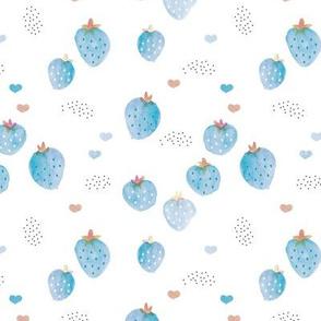 Watercolor summer strawberry garden kids boho beach trend duck egg blue on white