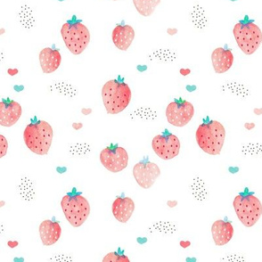 Watercolor summer strawberry garden kids boho beach trend red on white