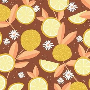 Lush citrus lemon garden botanical boho lemons and summer leaves kitchen restaurant copper yellow peach
