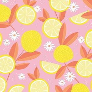 Lush citrus lemons garden botanical boho lemons and summer leaves kitchen restaurant pink peach yellow