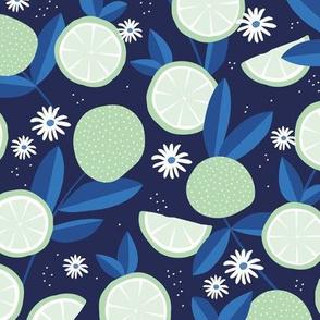 Lush citrus lime garden botanical boho lemons and summer leaves kitchen restaurant navy blue eclectic blue mint green
