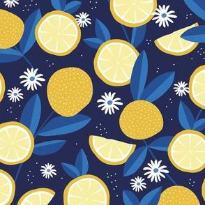 Lush citrus lemons garden botanical boho lemons and summer leaves kitchen restaurant navy blue eclectic blue yellow
