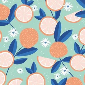 Lush citrus oranges garden botanical boho lemons and summer leaves kitchen restaurant mint orange blue