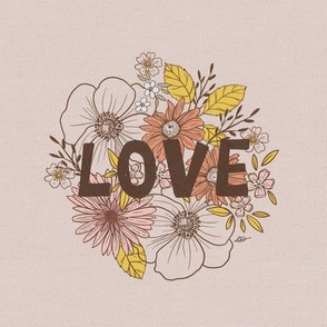 Embrodery Template vintage flower LOVE