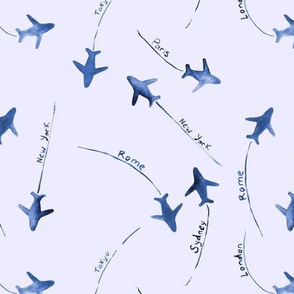 around the world in blue and indigo - air planes travel