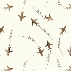 around the world in earthy and cream - watercolor airplanes - planes - travel