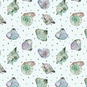 Emerald shades seashells - watercolor summer ocean vibes a241-14