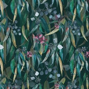 Moonlit forest leaves