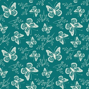 Teal, butterflies, butterfly, floral