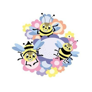 Happy Bee embroidery swatch