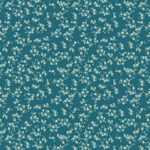 Tinny Blossoms over dark teal