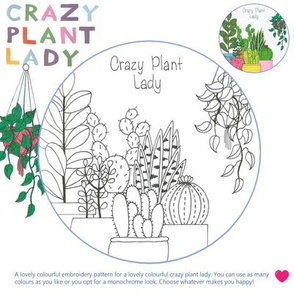 Embroidery pattern - Crazy plant lady