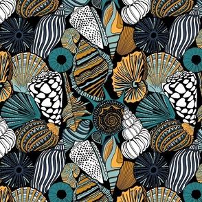 Seashells - turquoise and mustard