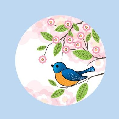 Blue bird and pink flowers