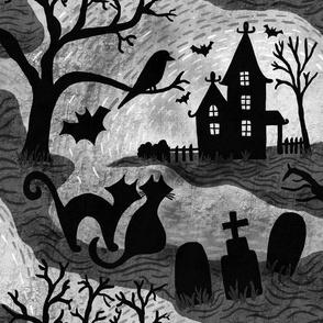 Spooky Halloween Haunts onyx black,white and gunmetal gray