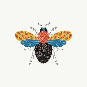 Strawberry Bee Embroidery Template