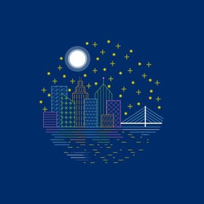 City_night_-_embroidery_hoop