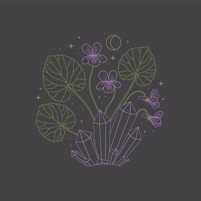 February Embroidery Pattern - Violets & Amethyst Dark