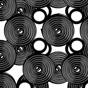 liquorice wheel black and white