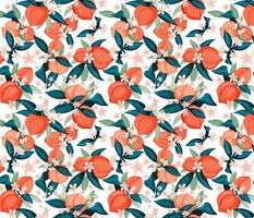 2x2 medium peaches in blossom orange and greens